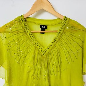 H&M swim beach cover up lime green